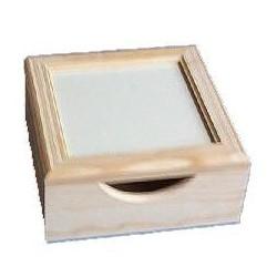 CAIXA PARA GUARDANAPOS C/ VIDRO  (20,5x20,5x9cm)