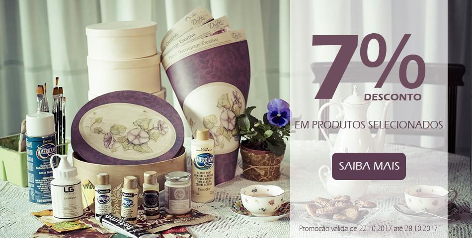 7° aniversario 7% desconto em produtos selecionados