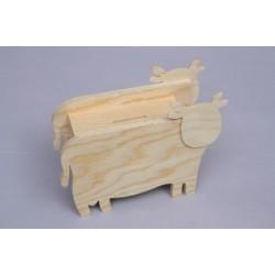 Cx. Madeira Mealheiro Vaca 19x15x7.5cm