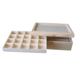 CAIXA MOEDAS/CAPSULAS NESPRESSO C/VIDRO 18X24  (26,5x20,5x9,5cm)