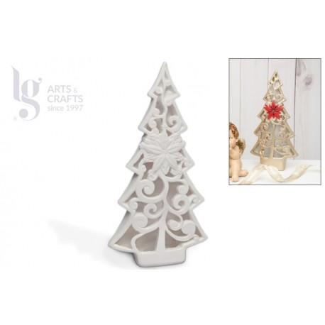 TREE W/ CHRISTMAS FLOWER 15X28.5CM W/LED