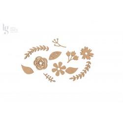 KIT FLOWERS + LEAVES 4X0.3CM MDF
