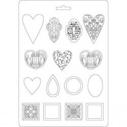 Molde A4 Formas Textured Hearts