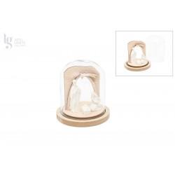 2 BASES W/BELL JAR W/LED 9.8X11X0.9CM MDF FOLHA