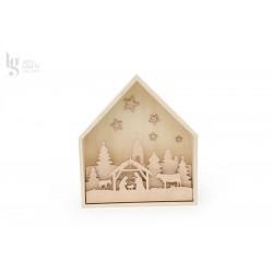 FRAME HOUSE 31X7.2X35CM W/NATIVITY FAMILY