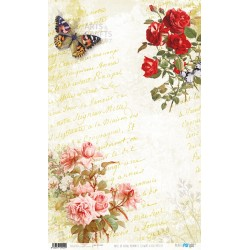 PAPEL ARROZ 54X33CM FLOWERS AND BUTTERFLY