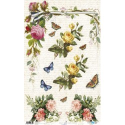 PAPEL ARROZ 54X33CM FLOWERS AND LETTERS