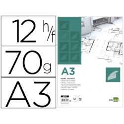 LIDERANÇA Papel de desenho liderpapel a3 297x420mm 70g / m2 vegetal em 12 folhas.