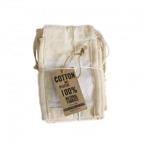 Saquinho peq. de algodão com janela - 10x15cm