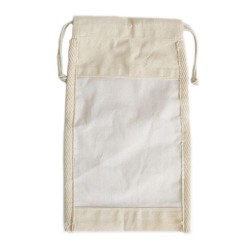 Saquinho grande de algodão com janela - 26x15cm