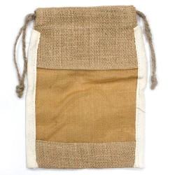 Bolsa Media de Juta C/Janela - 21x15cm