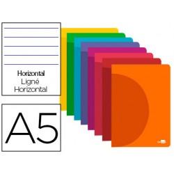 Caderno agr. A5 LP360º capa plastico 90g pautado - Rosa