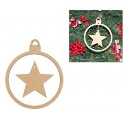 6 CHRISTMAS BALL W/ STAR 10X12X0.3CM MDF