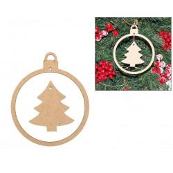2 CHRISTMAS BALL W/ TREE 10X12X0.3CM MDF