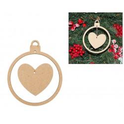 2 CHRISTMAS BALL W/ HEART 10X12X0.3CM MDF