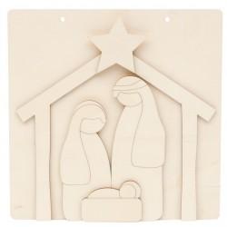 CHRISTMAS WREATH D.24X0.3CM MDF + BOARD 30X30CM