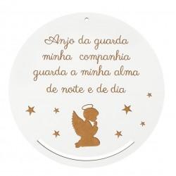 PLACA C/ORAÇÃO D.22X0.3CM MDF BRANCO