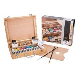 Conjunto de caixa de madeira de cor de óleo básico com 10 cores em tubo de 40ml + acessórios