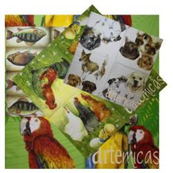 Conjunto de 20 Guardanapos Animais