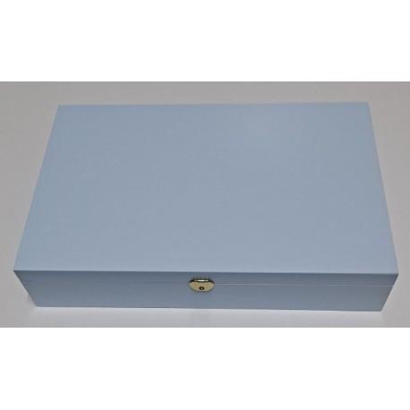 CX. BATIZADO C/ FECHO E DOBRADIÇAS (37x24x7cm) Pintada de Azul