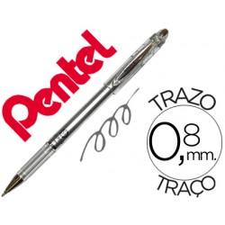 Esferografica roller metalica pentel bg 208 prateada 0,4 mm