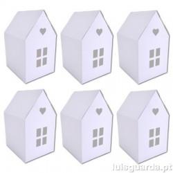 6 CASINHAS BRANCAS 5,5x9,5x7cm EMB012
