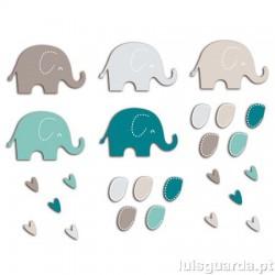 ASSORTMENT 20 BLUE ELEPHANTS /MOLE 5.7X3.5cm FPD70