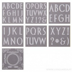 KIT 7 STENCIL 30.5X30.5CM PYI103 LETTERS/BOARDS